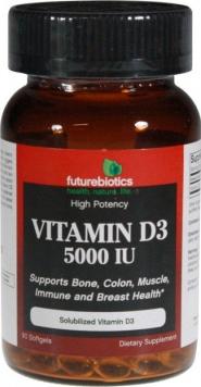 Futurebiotics Vitamin D3 - 5000 IU/90 Softgels