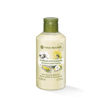 Yves Rocher Relaxing Bath andShower Gel - Cotton Flower Mimosa 200 ml
